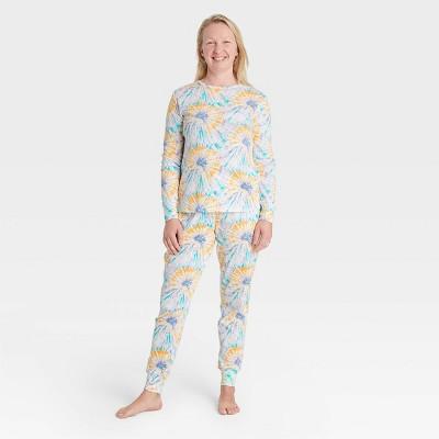 Women's Tie-Dye Print 100% Cotton Matching Family Pajama Set - Teal