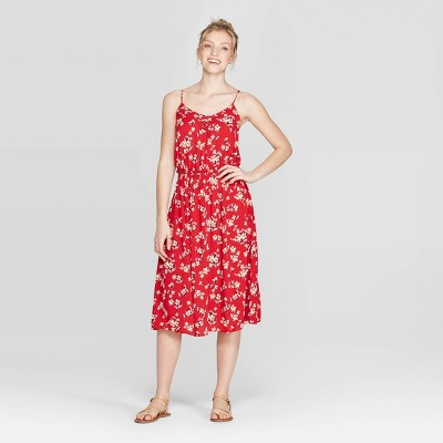 Women's Floral Print V Neck Strappy Lace Up Top Midi Dress   Xhilaration Red by Neck Strappy Lace
