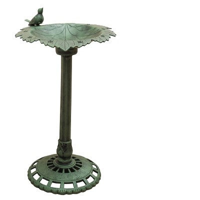"35"" Lightweight Plastic Leaf Design Outdoor Birdbath and Birdfeeder Green - XBrand"