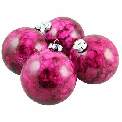 "Barcana 4ct Marbled Shatterproof Christmas Ball Ornament Set 3.25"" - Purple"