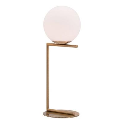"25"" Modern Geometric Table Lamp (Includes Light Bulb) Brass - ZM Home"