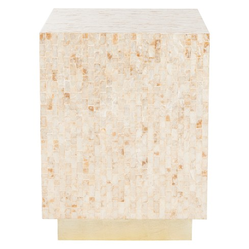 Juno Rect Mosaic Side Table Beige/Gold - Safavieh - image 1 of 4