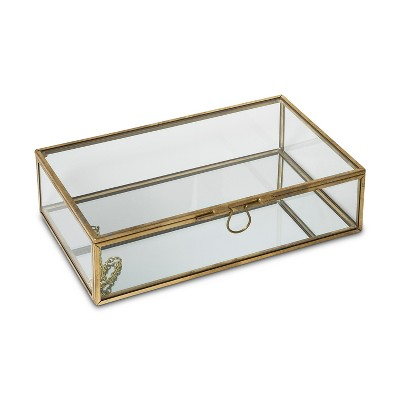 Glass Jewelry Storage Box with Lid Gold/Natural - West Emory