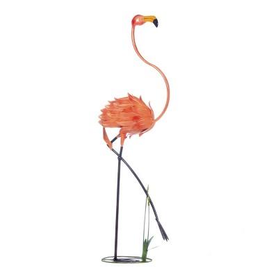 "47.5"" Iron Standing Flamingo Garden Décor Statue Pink - Zingz & Thingz"
