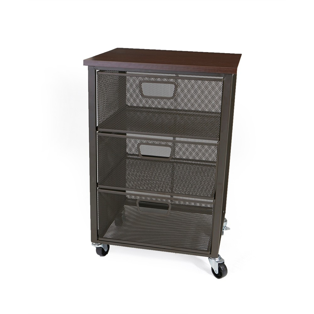 Image of 3 Tier Mesh File Cart on Wheels Gray - Mind Reader