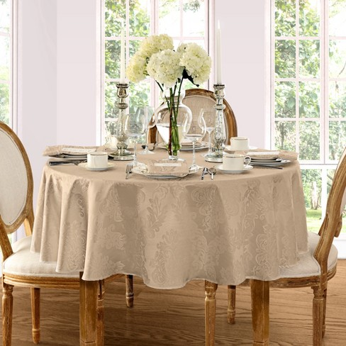 Barcelona Damask Stain Resistant Tablecloth 60 X 84 Oval Beige