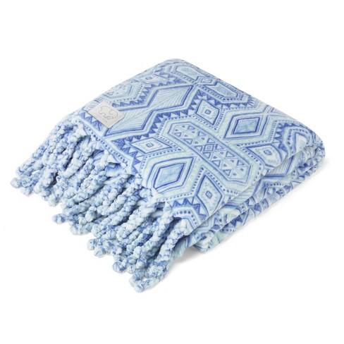 """Ivory Ella 50""""x60"""" Rory Ultra Plush Fringe Throw Blanket Blue - image 1 of 4"""