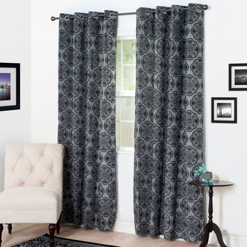 "Yorkshire Home Dana Flocked Curtain Panel - 95"" - Charcoal - image 1 of 4"