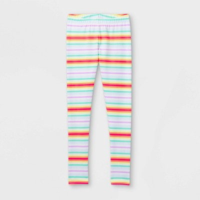 Girls' Striped Leggings - Cat & Jack™ Fresh White