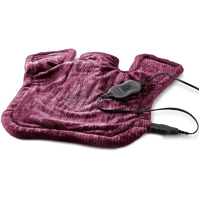 Sunbeam Renue XL 4 Setting 25 Inch Machine Washable Heating Pad for Neck & Shoulder Pain Relief with LED Remote Controller, Burgundy