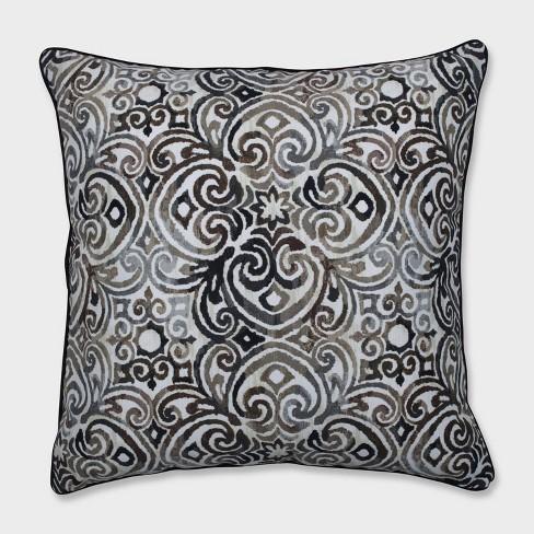 "25"" Corrinthian Driftwood Floor Pillow Black - Pillow Perfect - image 1 of 1"
