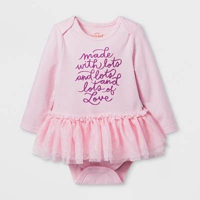 Baby Girls' Made With Love Long Sleeve Tutu Bodysuit - Cat Jack™ Woodrose 6-9M