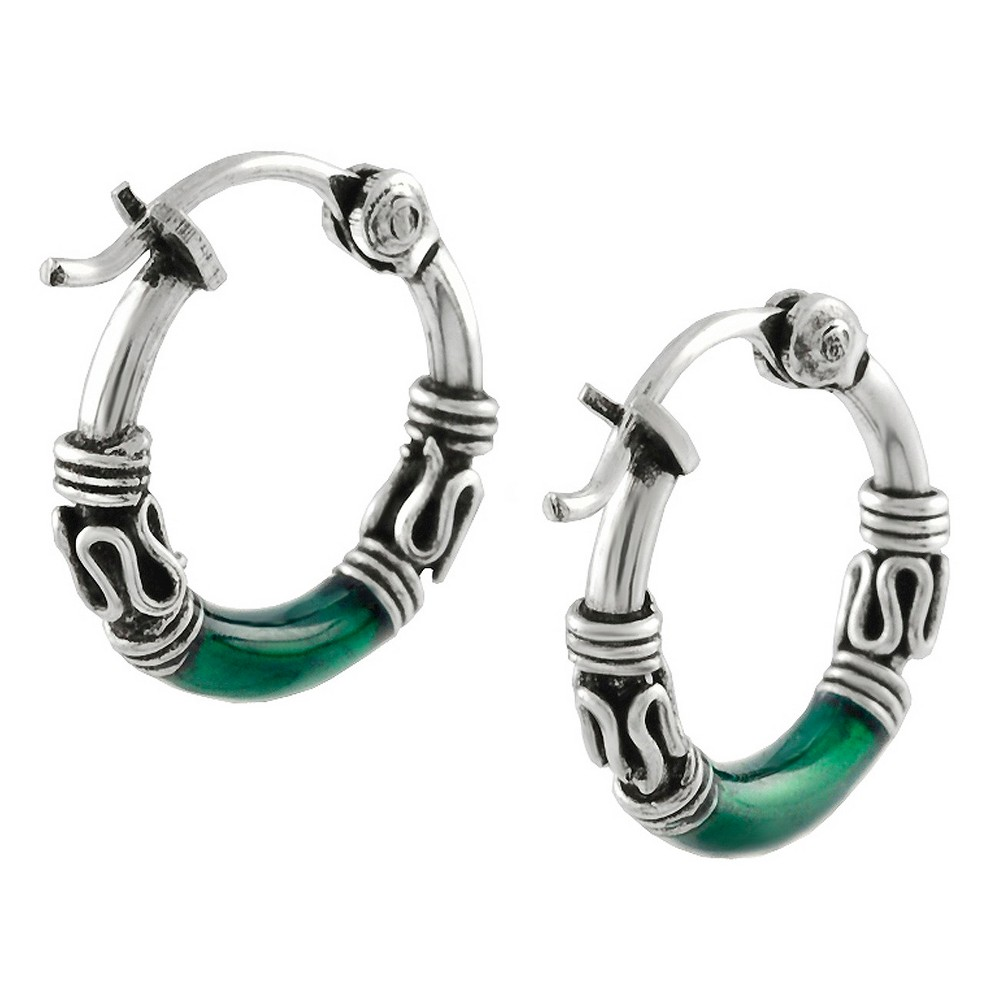 Women's Tressa Collection Hoop Earrings in Sterling Silver - Green/Silver