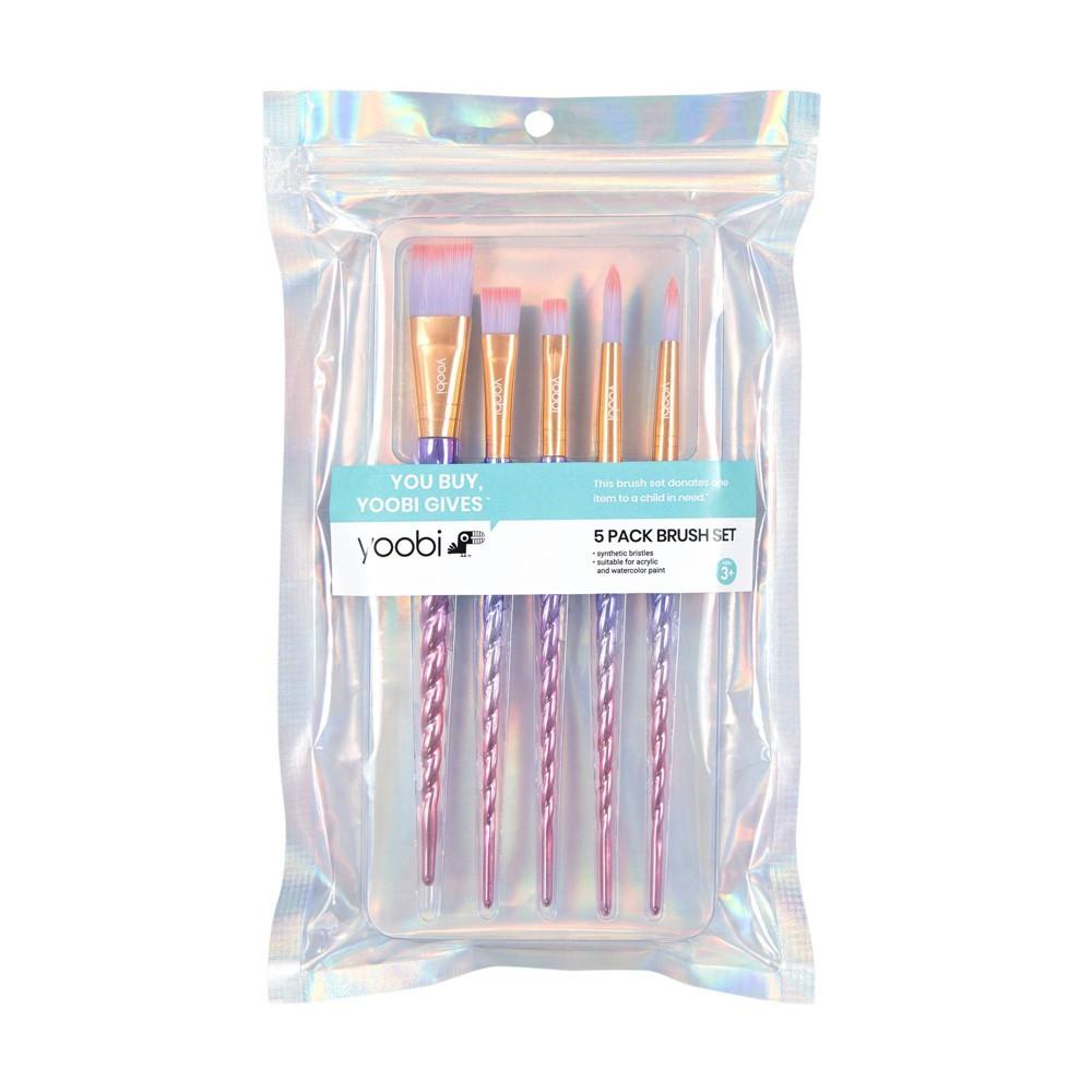 Image of 5pk Novelty Paint Brush Set Unicorn Twist - Yoobi