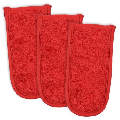 3pk Cotton Terry Pan Handles Red - Design Imports