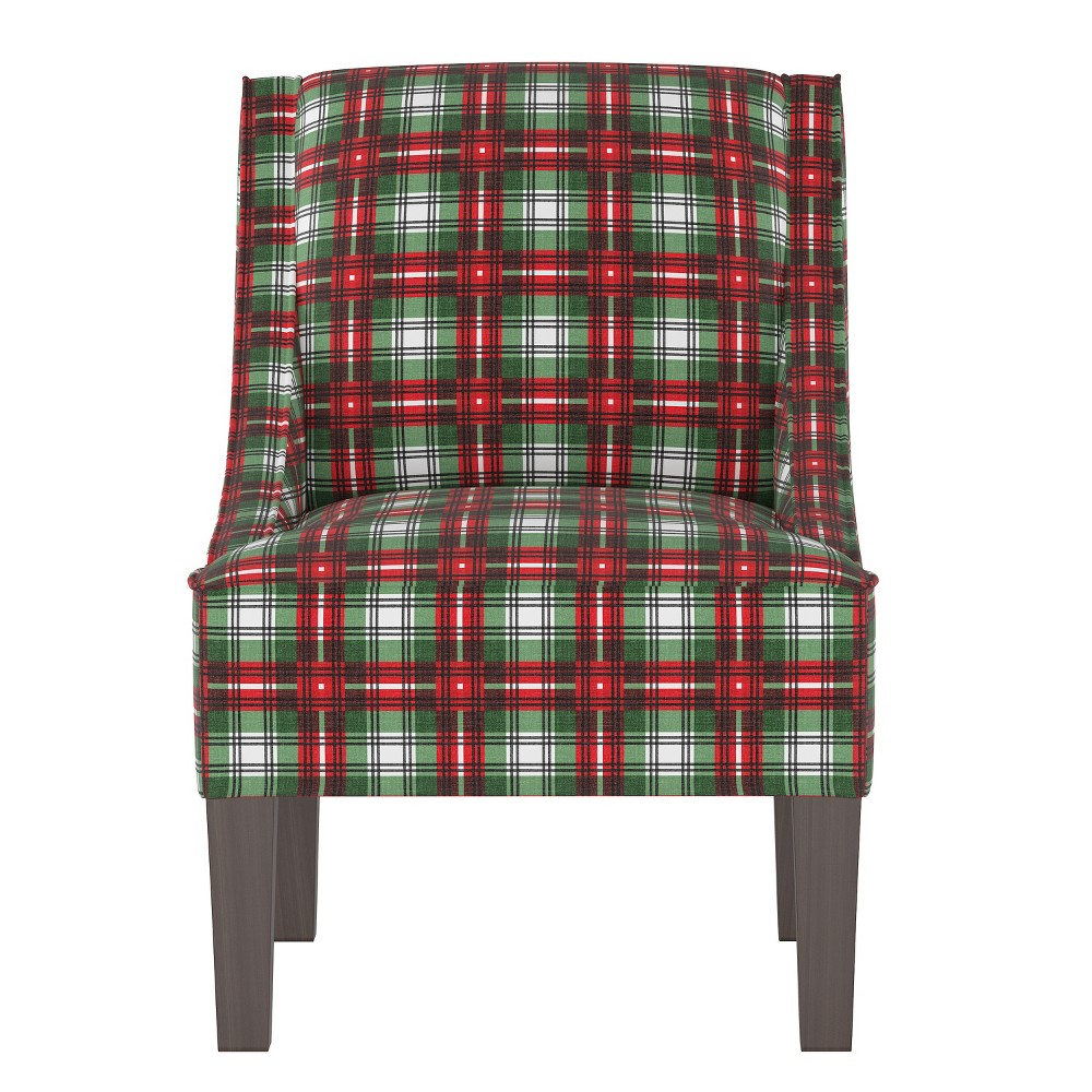 Hannah Swoop Arm Chair Green/Red Plaid - Cloth & Co.