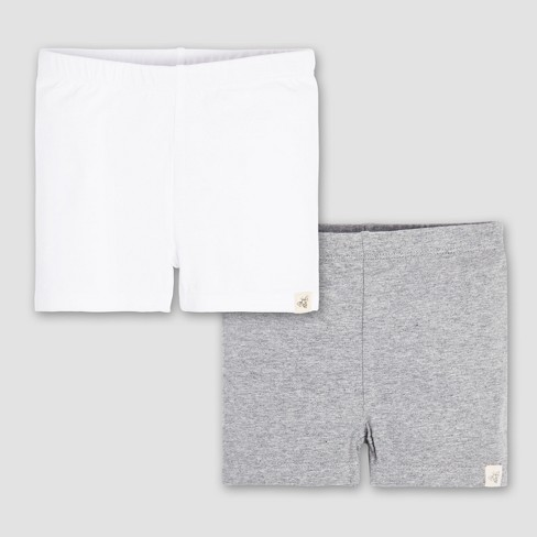 Burt's Bees Baby® Toddler Girls' 2pk Bike Shorts - White/Gray - image 1 of 5