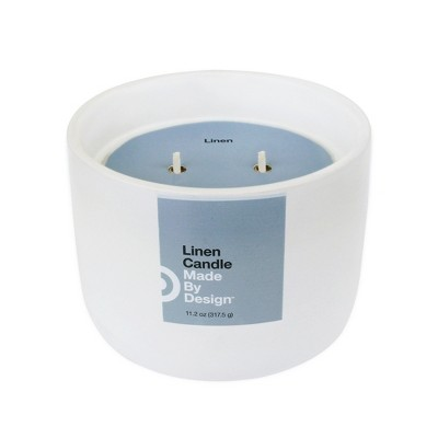 11.2oz Large Ceramic 2-Wick Candle Linen - Made By Design™