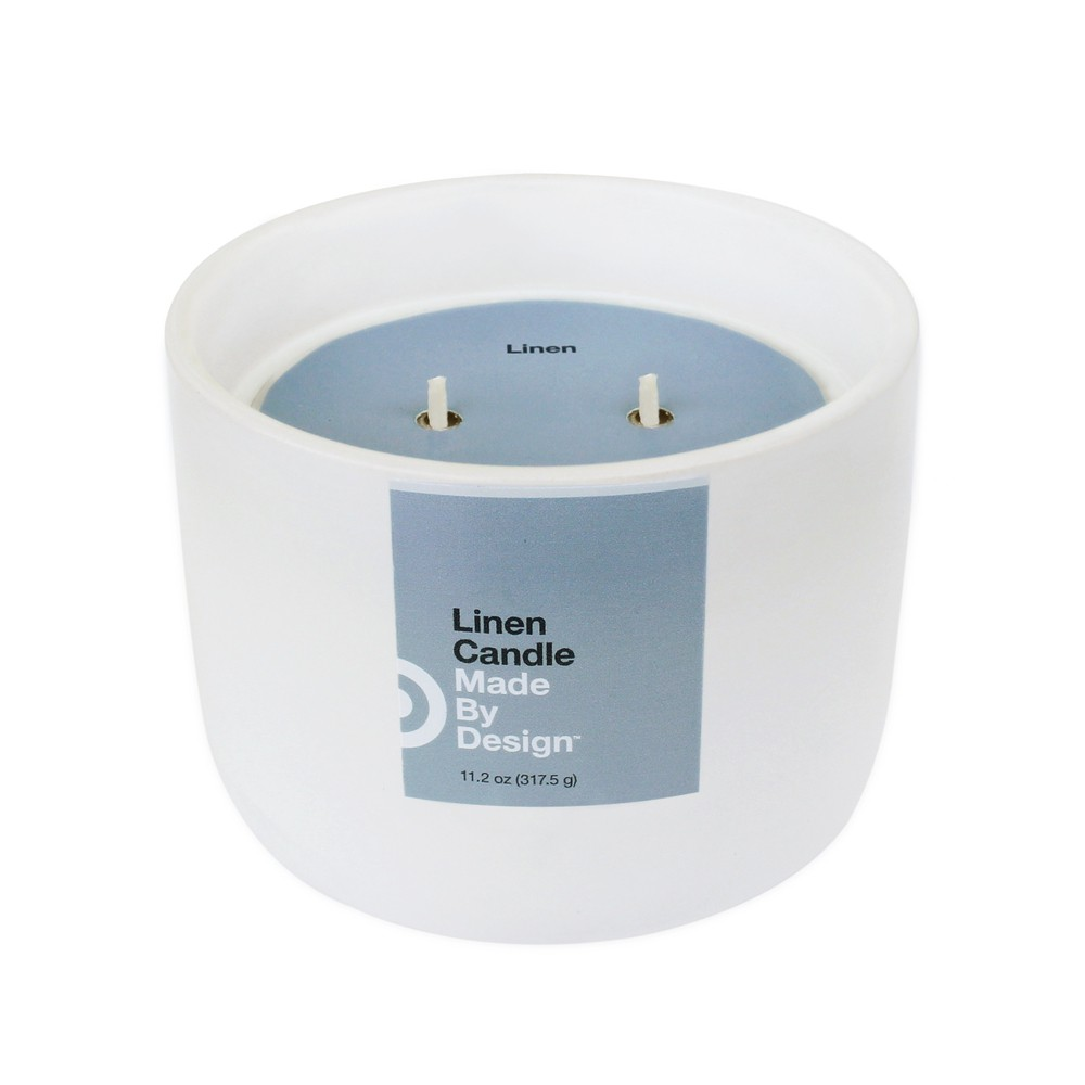 Image of 11.2oz Large Ceramic 2-Wick Candle Linen - Made By Design , White