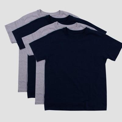 Hanes Boys' 4pk Crew Neck T-Undershirt - Gray/Navy