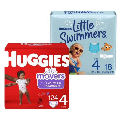 Huggies Little Movers Baby Diapers Size 4 - 120ct + Huggies Little Swimmers Swim Diapers Size 4 Medium - 18ct - Bundle - image 1 of 4