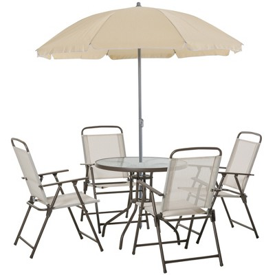 Outsunny 6pc Patio Dining Furniture Set with Umbrella, 4 Folding Dining Chairs and Glass-Top Table