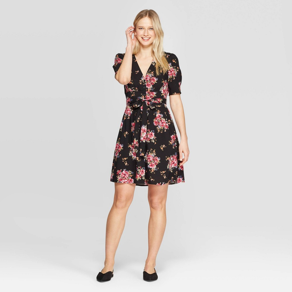 Women's Floral Print Short Sleeve Button Front Belted Dress - Xhilaration Black/Pink Xxl