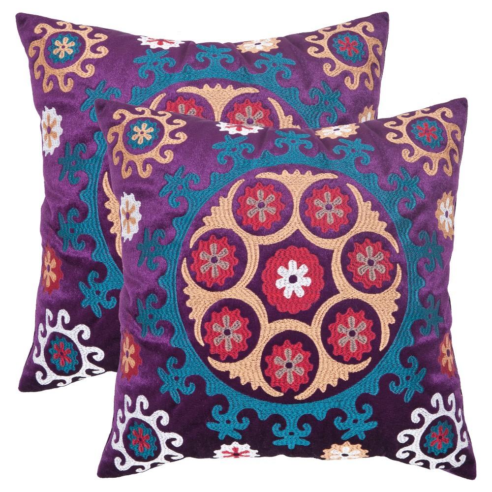 Best 2pk 20x20 Oversize Vanessa Square Throw Pillow Gold Purple - Safavieh