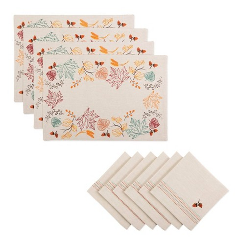 Acorns Embroidered Placemat & Napkin Set - Design Imports - image 1 of 4