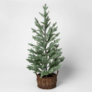 3ft Artificial Pine Tree with Glitter in Rattan Pot Green/Brown - Threshold™