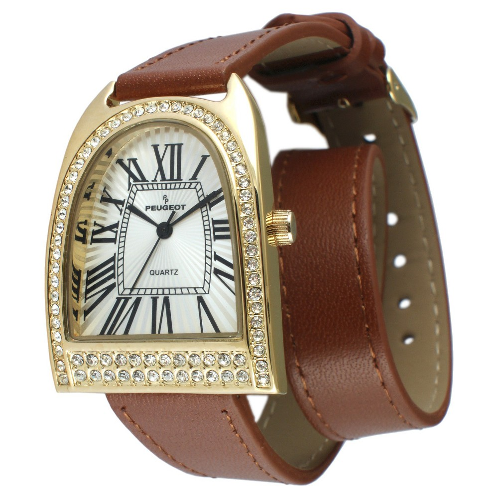 Women' Peugeot Crytal Bezel Double Wrap Leather trap Watch - Gold and...