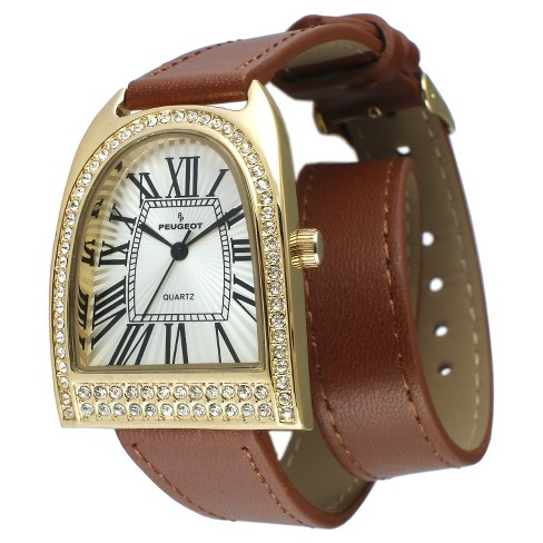 Women's Peugeot Crystal Bezel Double Wrap Leather Strap Watch - Gold and  Brown - image 1 of 2