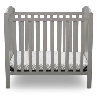 Delta Children Emery Mini Convertible Baby Crib with Mattress - Gray