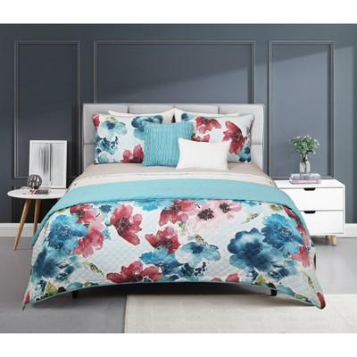 Riverbrook Home Jasper Layered Comforter & Coverlet Set White/Gray/Teal
