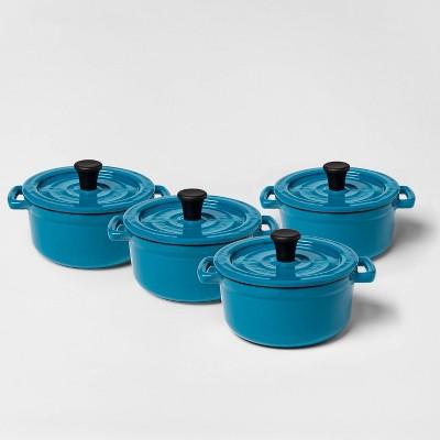 .25qt 4pc Round Casserole Bakeware Set Teal - Threshold™