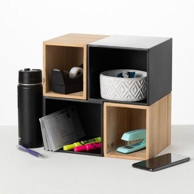 "Sullivans Office Storage and Organizational Cube 11.8""H Brown"