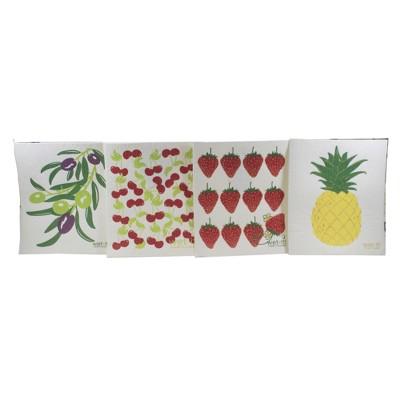 "Swedish Dish Cloth 7.75"" Fruit & Olive Branch Absorbant Cloth  -  Dish Cloth"