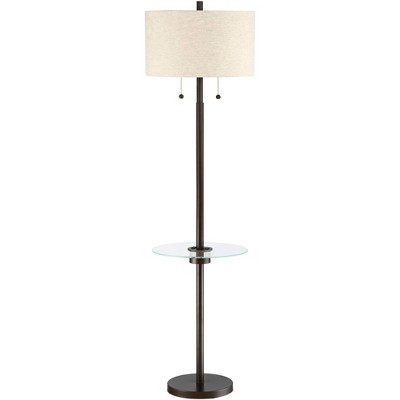 Possini Euro Design Modern Floor Lamp with Table USB and AC Power Outlet Oil Rubbed Bronze Drum Shade Living Room Reading Office