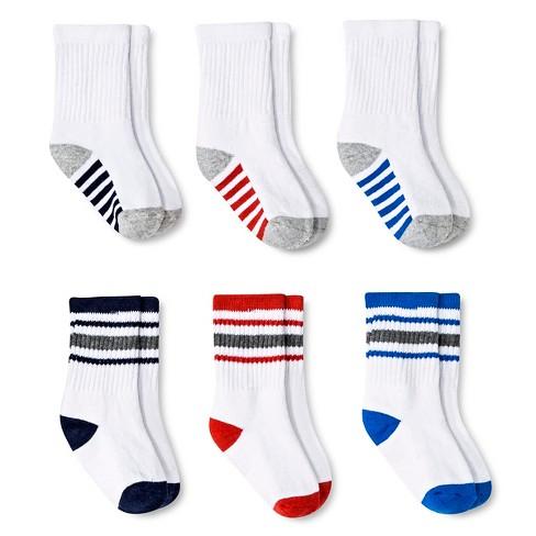 Baby Boys' Multicolored Stripe Crew Socks 6 pk Circo™ - White 6-12M - image 1 of 1