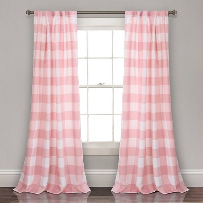 "Set of 2 (84""x52"") Kelly Checker Room Darkening Window Curtain Panels - Lush Décor"