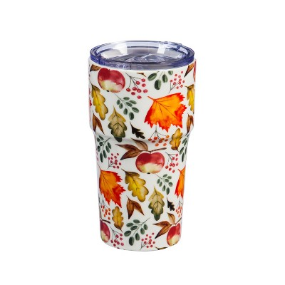 Cypress Home Beautiful Bountiful Orchard Double Wall Ceramic Companion Cup with Tritan Lid - 4 x 4 x 6 Inches Indoor/Out