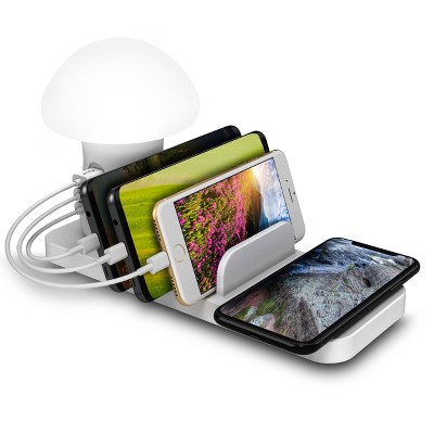 Trexonic 3-in-1 Desk Organizer with Wireless Charging Station and Reading Light