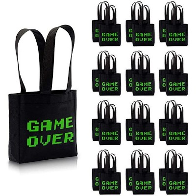 """Blue Panda 24-Pack """"Game Over"""" Video Game Party Favors Tote Bags Small Gift Bags (Black, 6.5 x 7 x 1.77 In)"""