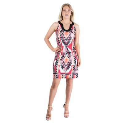 24seven Comfort Apparel Women's Red and Black Shift Dress