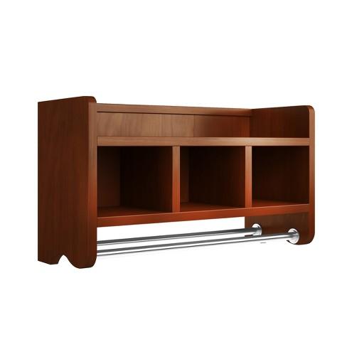 Bath Storage Shelf with Towel Rod 25\