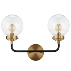 "18"" Caleb 2 Light Brass Wall Sconce Black - JONATHAN Y"