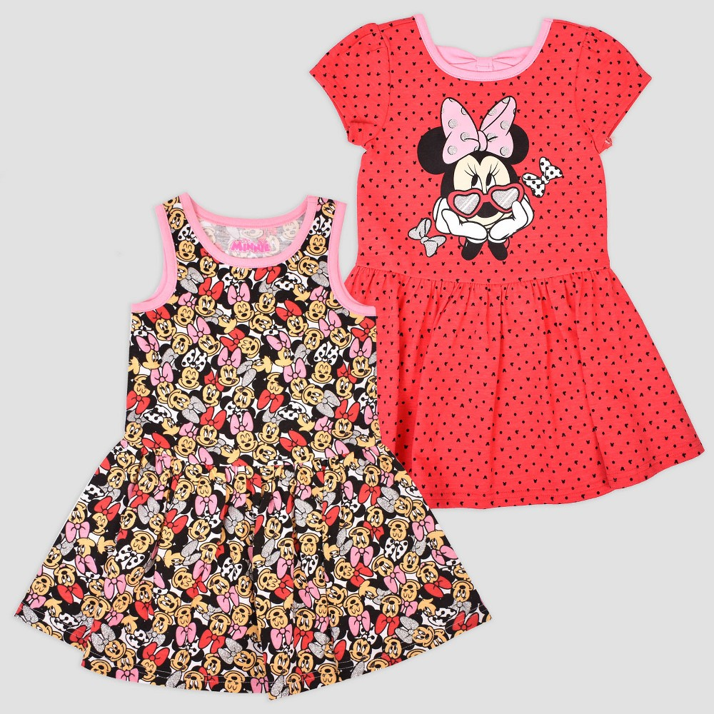 Toddler Girls' 2pk Disney Mickey Mouse & Friends Minnie Mouse Short Sleeve Skater Dress - Red/Pink 3T, Multicolored