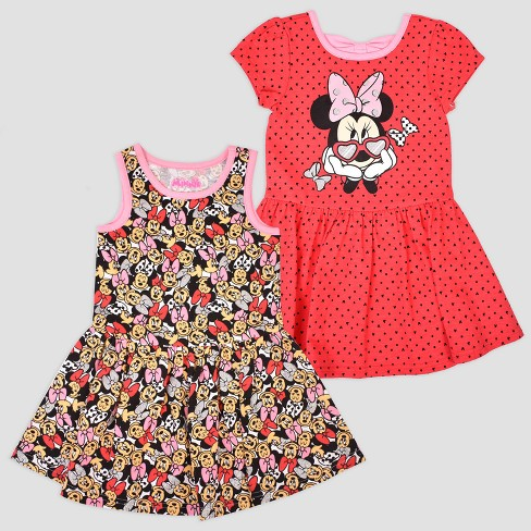 Toddler Girls  2pk Disney Mickey Mouse   Friends Minnie Mouse Short Sleeve  Skater Dress - Red Pink a1f47c183