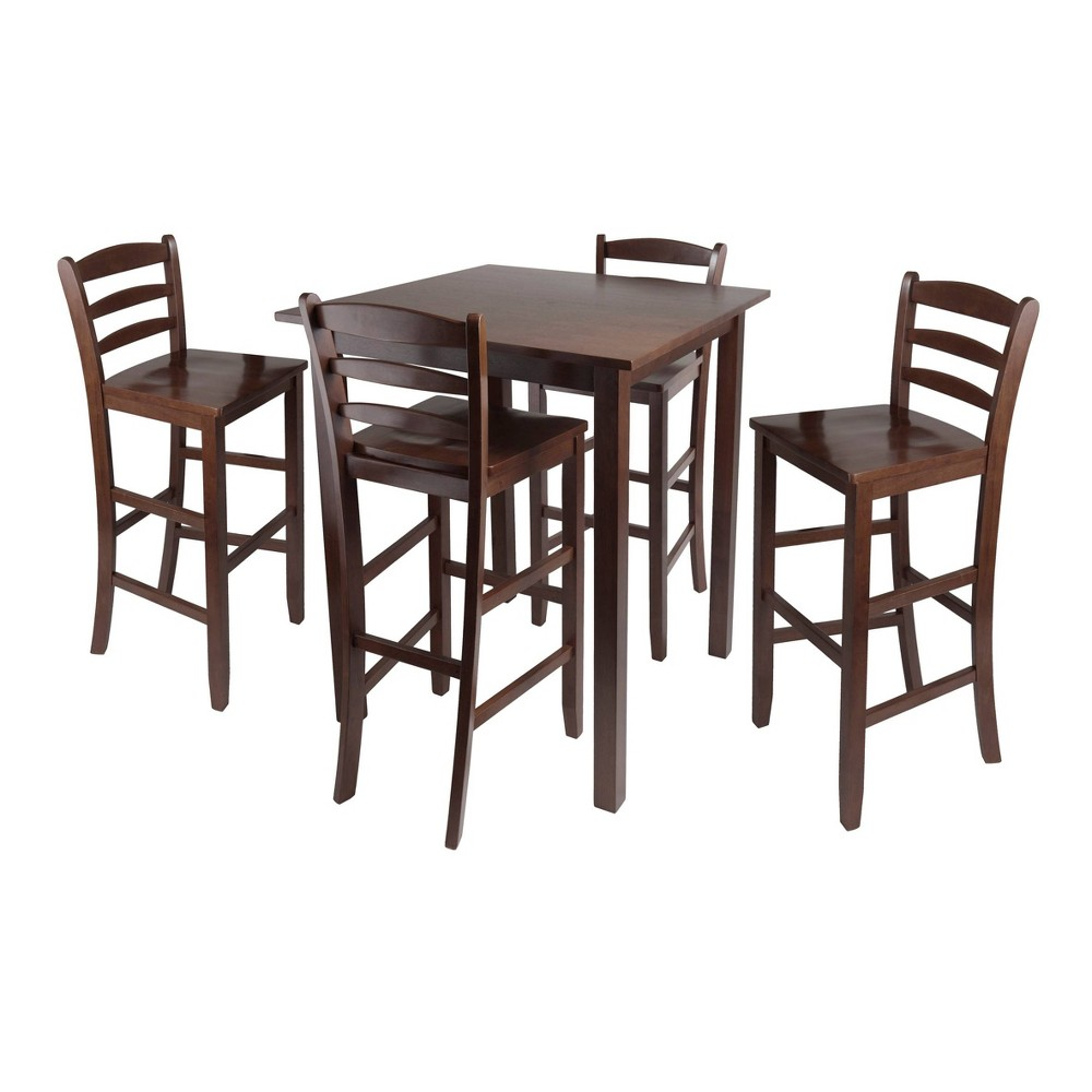5 Piece Parkland Set High Table with Ladder Back Bar Stools Wood/Walnut- Winsome, Brown