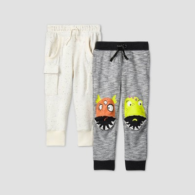 Toddler Boys' 2pk Monster/Pocket Knee Pull-On-Pants - Cat & Jack™ Gray